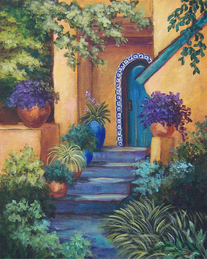 Adobe House Painting - Blue Tile Steps by Candy Mayer
