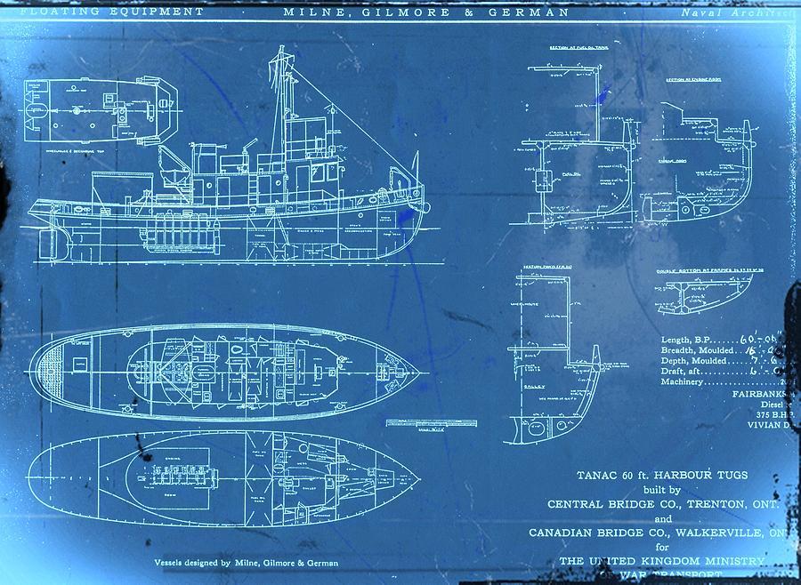 Blue Tugboat Blueprints Digital Art by Joseph Hawkins