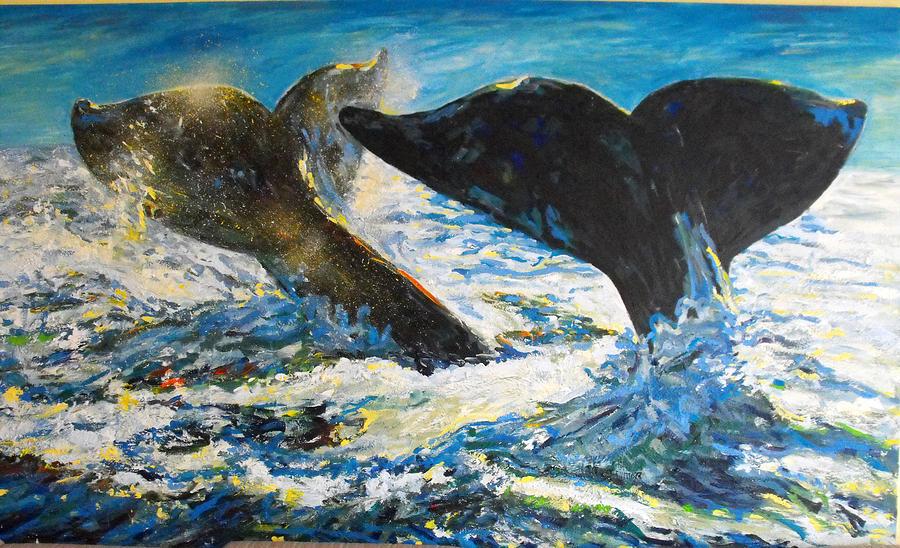 Blue Whales Painting by Koro Arandia