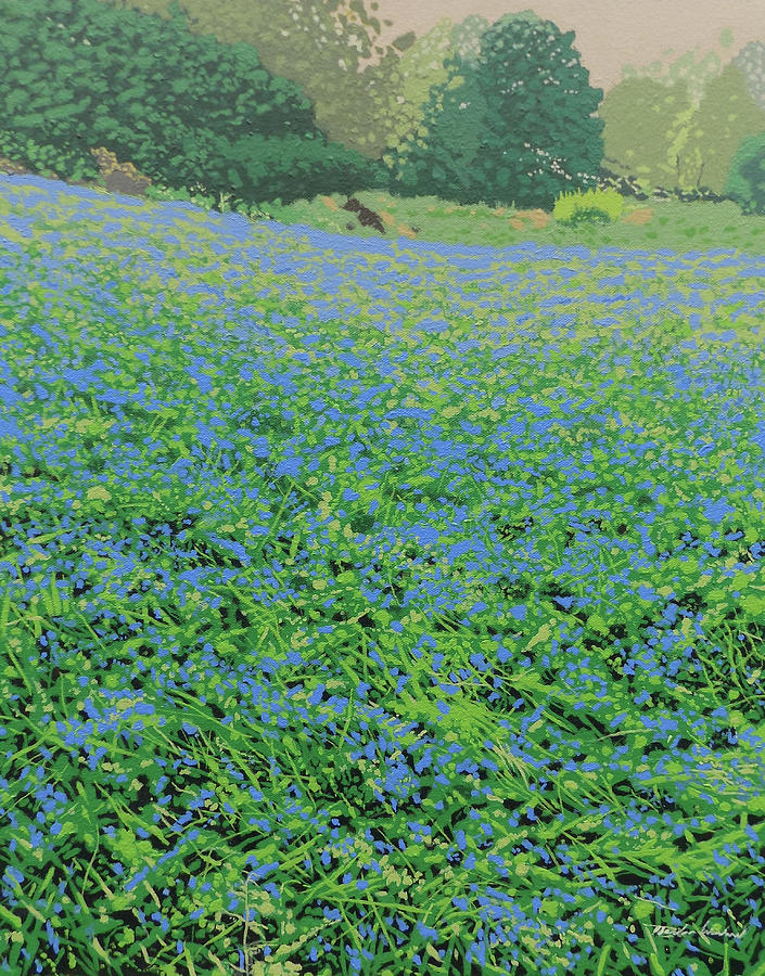 Flora Painting - Bluebell Hill by Malcolm Warrilow