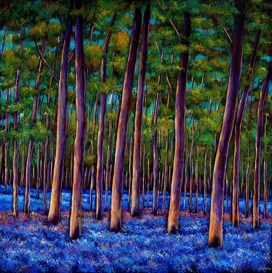 Landscape Painting - Bluebell Wood by Johnathan Harris
