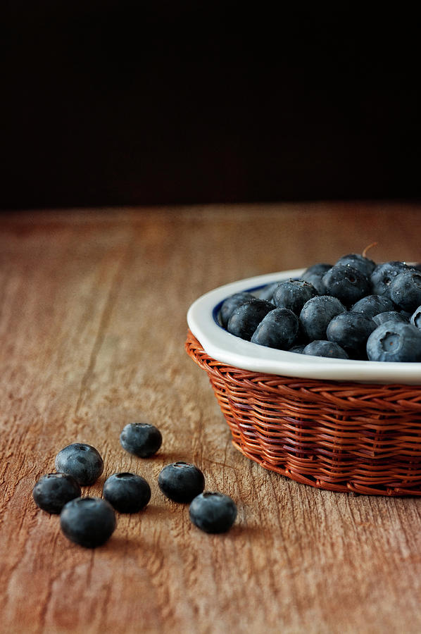 Vertical Photograph - Blueberries In Wicker Basket by © Brigitte Smith