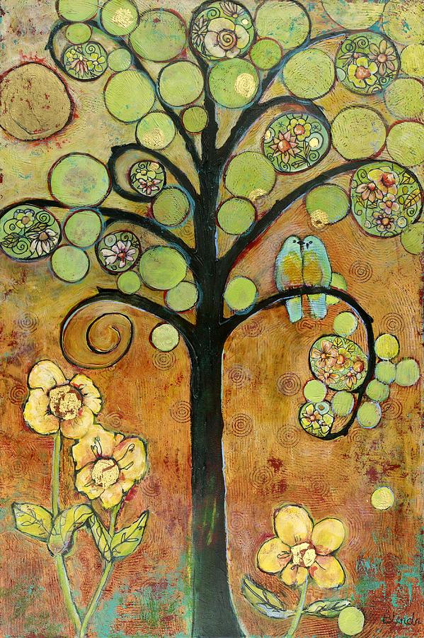 Bluebirds In Paradise Tree Painting by Blenda Studio