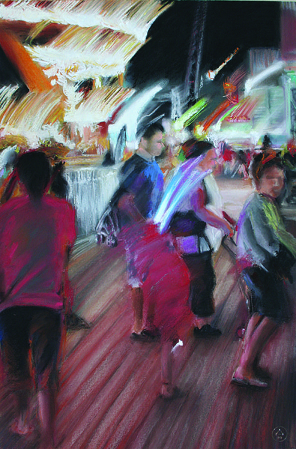 Pastel Painting - Boardwalk Buzz by Paul Autodore