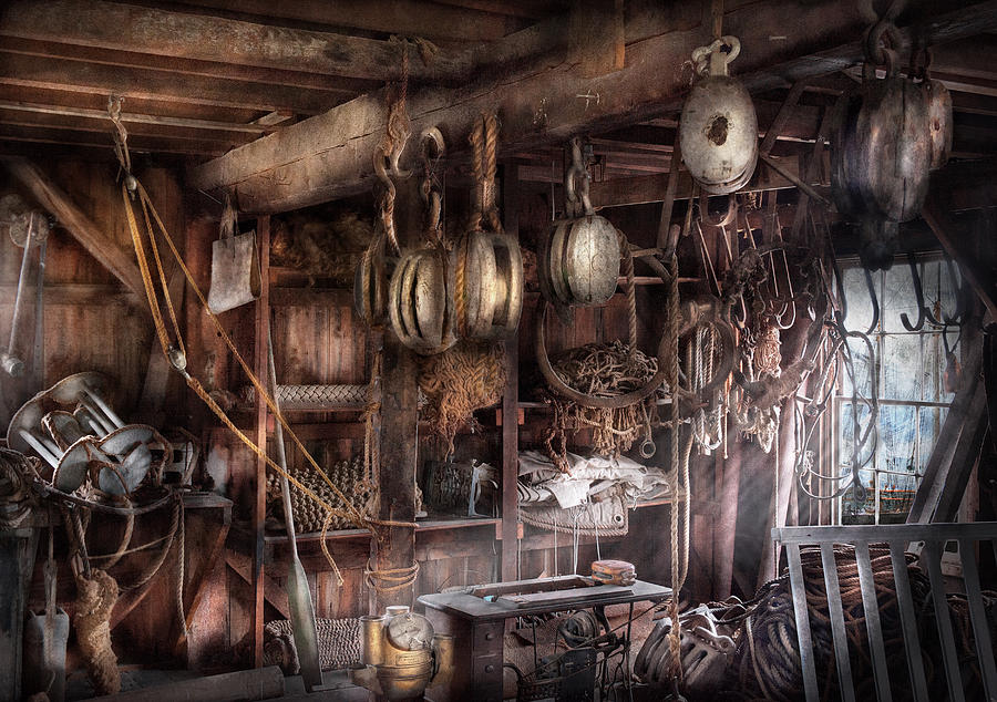 Suburbanscenes Photograph - Boat - Block And Tackle Shop  by Mike Savad