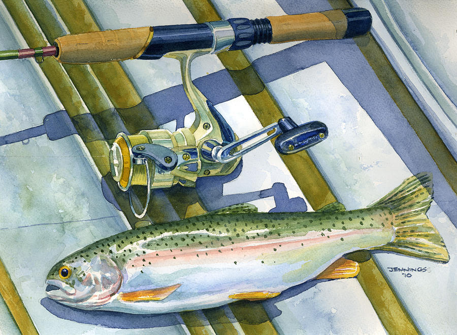 Boat Painting - Boat Bottom Trout by Mark Jennings