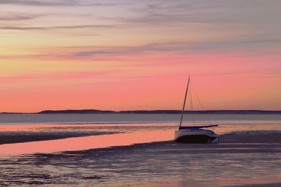 Horizontal Photograph - Boat In Cape Cod Bay At Sunrise by Gemma