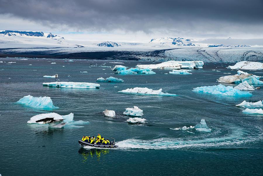 Iceland Photograph - Boat In Joekulsarlon Glacier Lagoon Iceland by ...