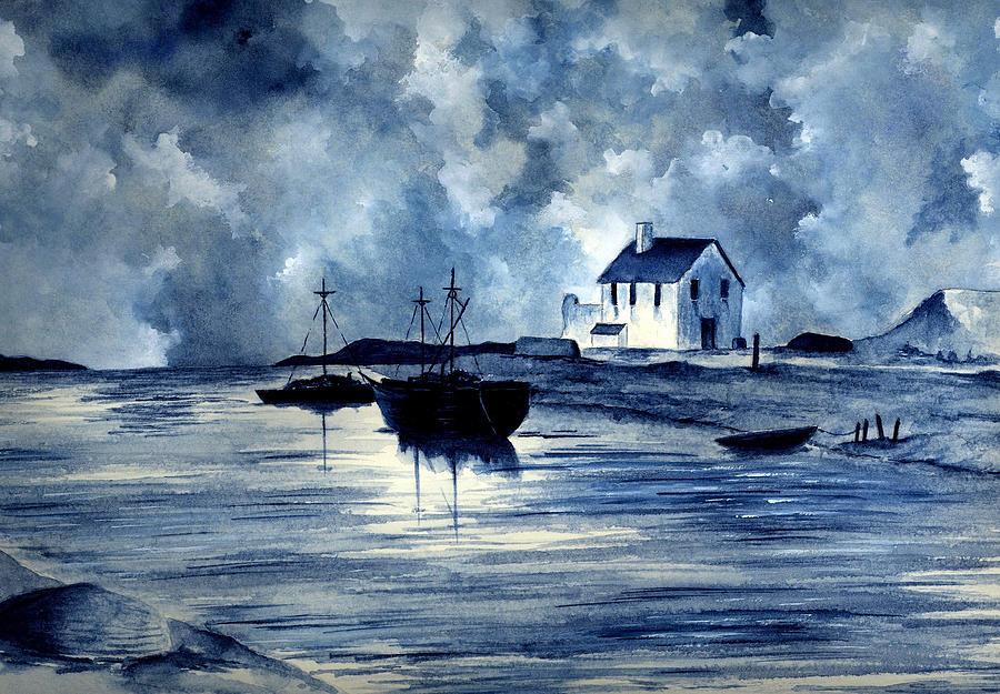 Boats In Blue Painting