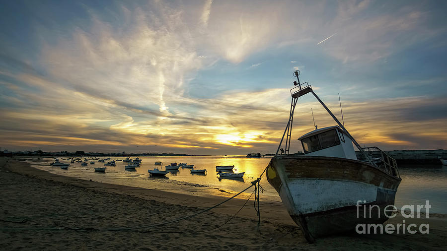 Boats On Guadalquivir River At Sanlucar De Barrameda Cadiz Spain Photograph