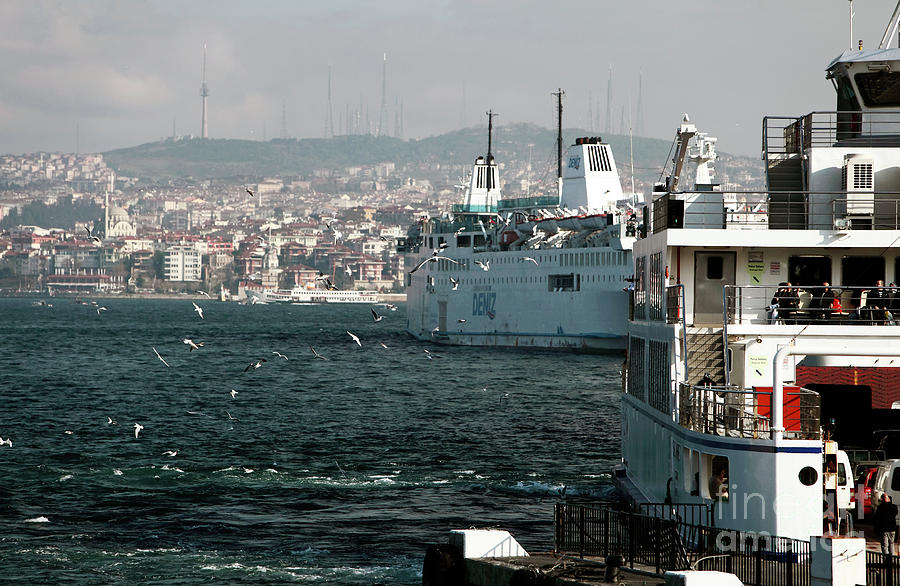 Boats On The Bosphorus Photograph - Boats On The Bosphorus by John Rizzuto