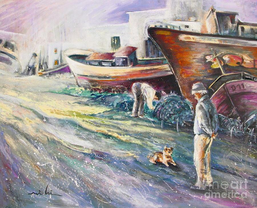 Boats Painting Seacape Spain Acrylics Villajoyosa Costa Blanca Painting - Boats Yard In Villajoyosa Spain by Miki De Goodaboom