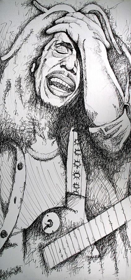 Bob Marley Drawing - Bob Marley In Ink by Joshua Morton