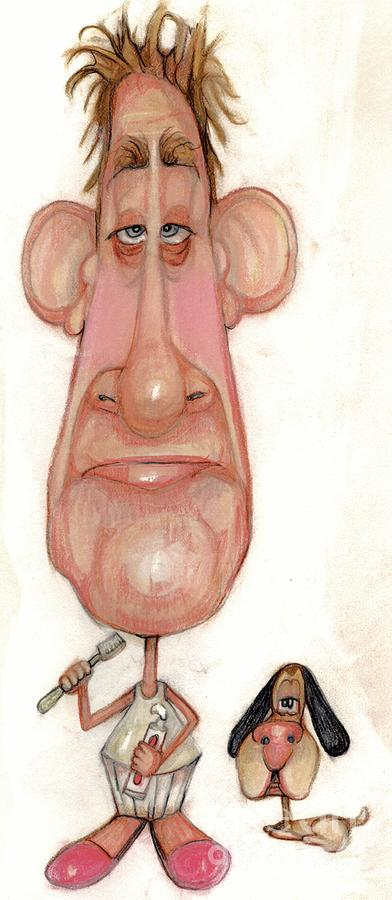 Man Drawing - Bobblehead No 71 by Edward Ruth