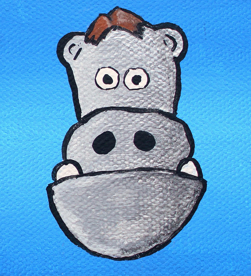 Hippo Dragon 2 Teeth Two Teeth Cute Adorable Creature Character Portrait Comb Over Grey Blue Fun Kids Entertaining Painting - Bobby Bernstein by Jera Sky