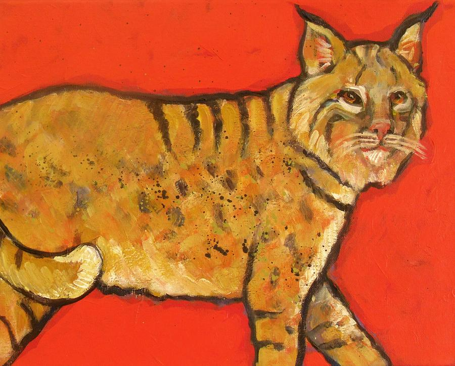 Bobcat Painting - Bobcat Watching by Carol Suzanne Niebuhr