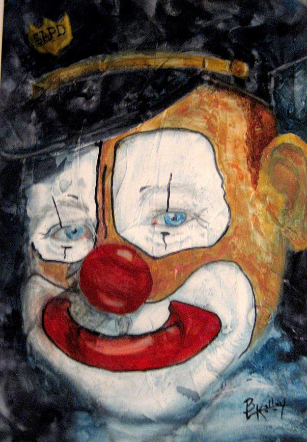 Cop Policeman Clown Happy Painted Face Head Closeup Hat White Red Eyes Blue Painting - Bobo Cop by Barbara Kelley