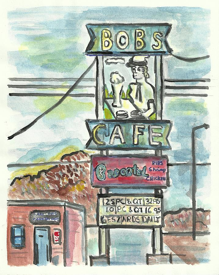 Sign Painting - Bobs Cafe by Matt Gaudian