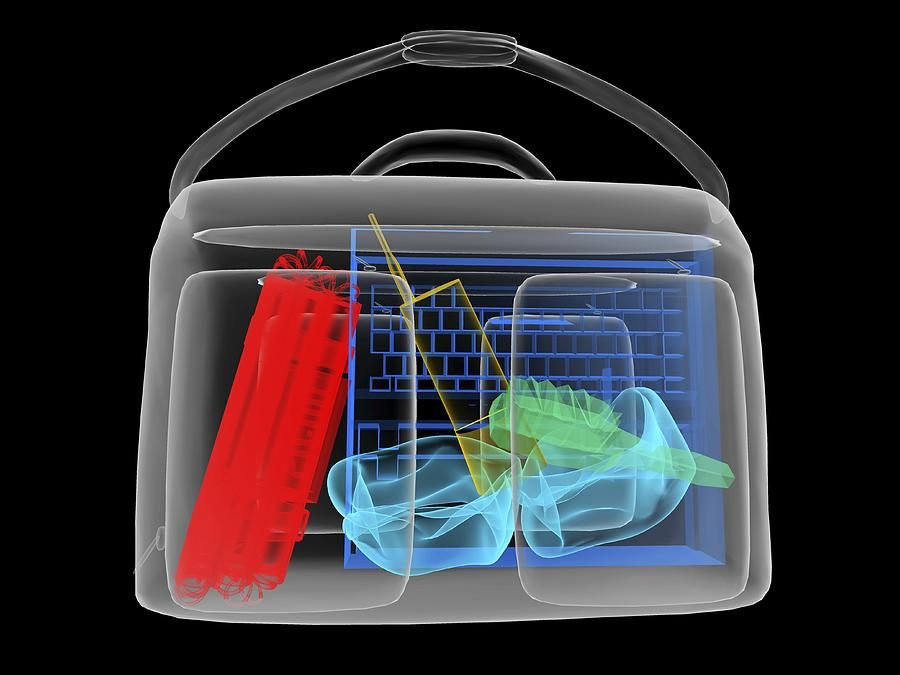 Bomb Inside Briefcase, Simulated X-ray Photograph