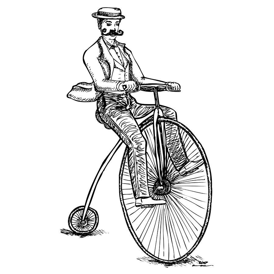 Drawing Drawing - Boneshaker Velocipede Bicycle by Karl Addison