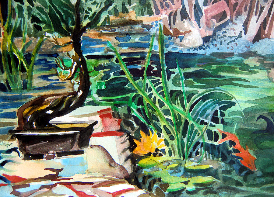 Watercolor Painting - Bonsai Meditations by Mindy Newman