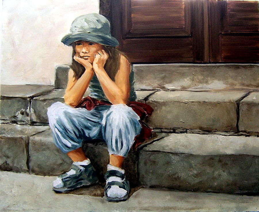 Figurative Little Girl Portrait Realism Child Kid Painting - Bored by Natalia Tejera
