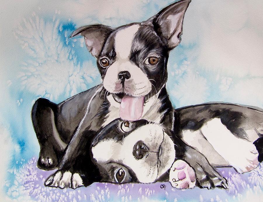 Boston Terrier Print Painting - Boston Buddies by Carol Blackhurst