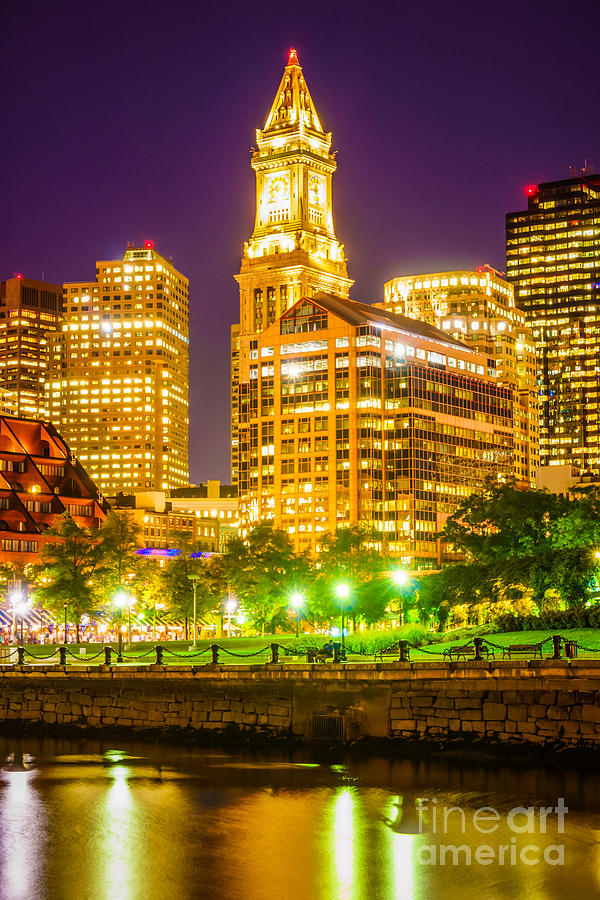 Boston Cityscape At Night Photograph By Paul Velgos