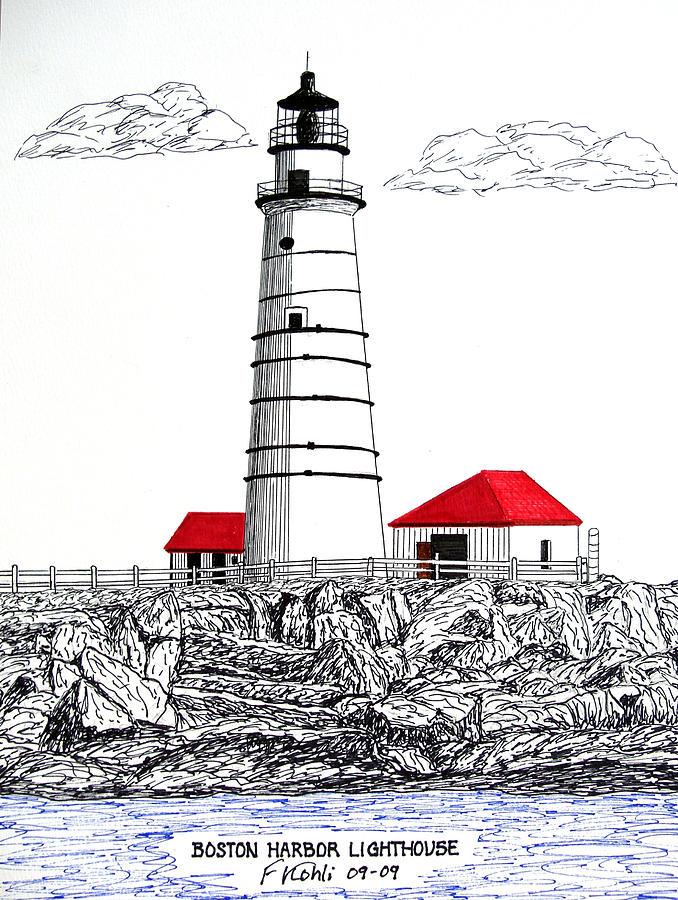 Lighthouse Artwork Drawing - Boston Harbor Lighthouse Dwg by Frederic Kohli