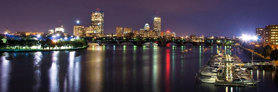 Boston Photograph - Boston Harbor Nights-panorama by Joann Vitali