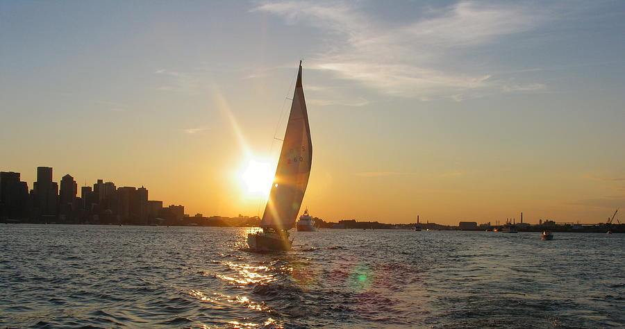 Boston Harbor Sunset Photograph