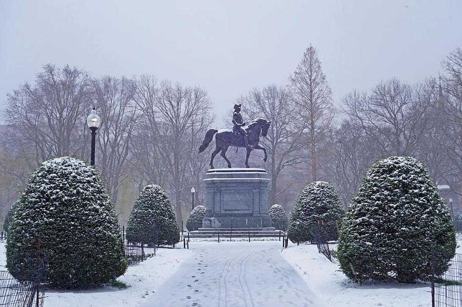 Boston Public Garden Boston Ma Winter Snow Photograph By