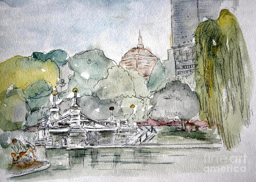 Boston Public Gardens Bridge Painting