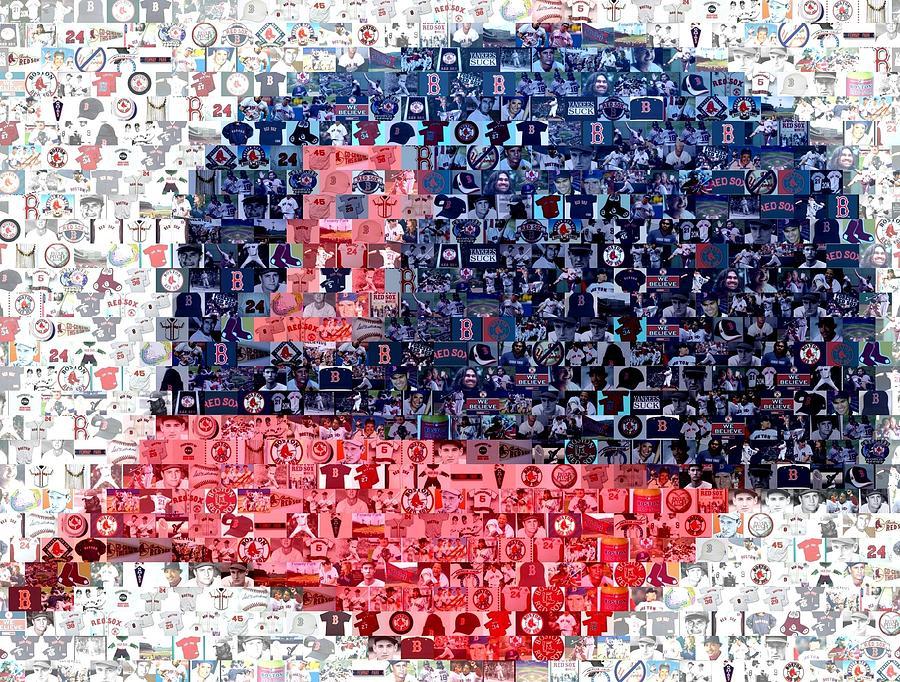 Boston Red Sox Cap Mosaic Digital Art By Paul Van Scott