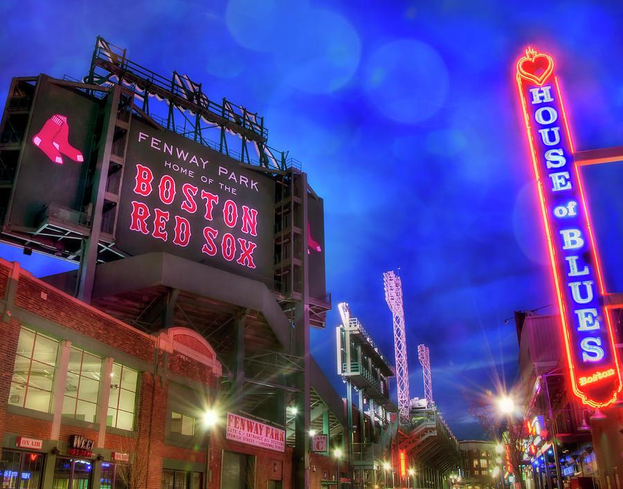 Boston Red Sox Fenway Park At Night Photograph By Joann Vitali