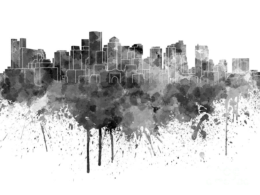 Boston Skyline Painting - Boston Skyline In Black Watercolor On White ...