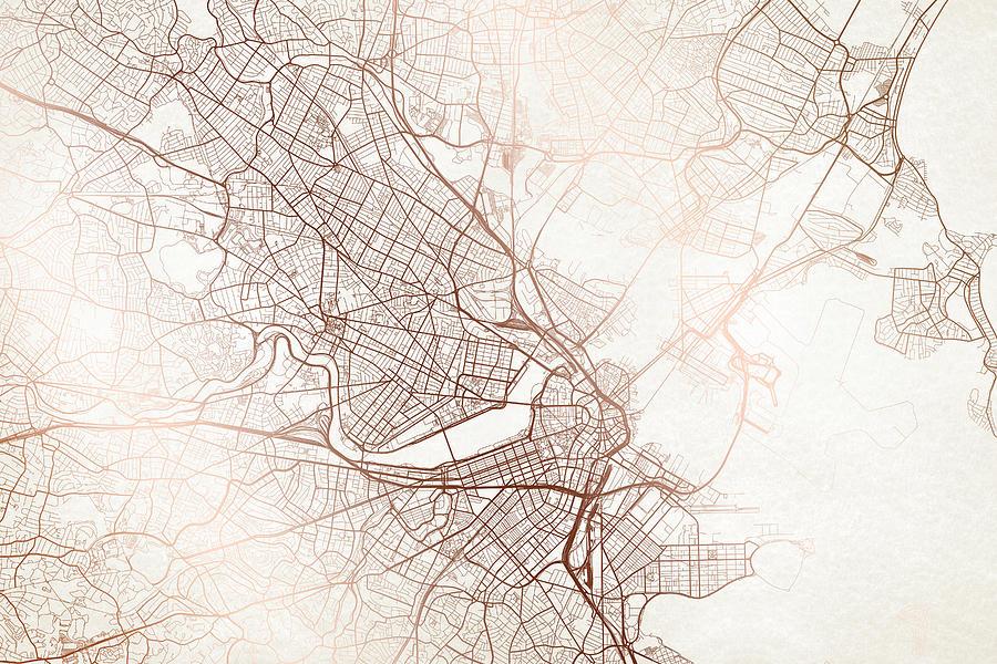 Boston Street Map Colorful Copper Modern Minimalist by Jurq Studio