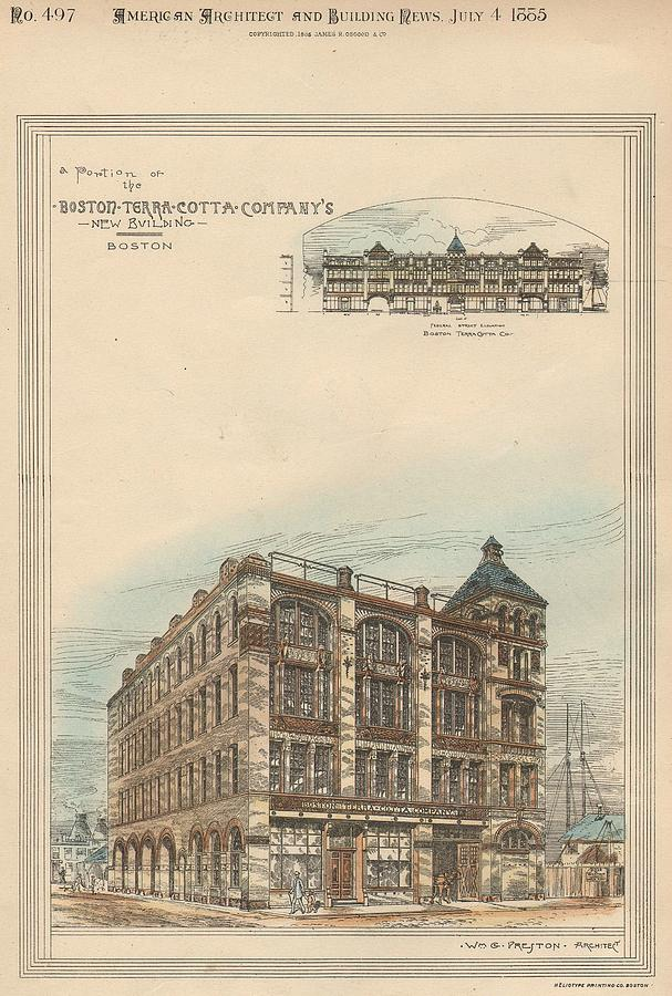 Boston Terra Cotta Building Boston Ma 1883 Painting