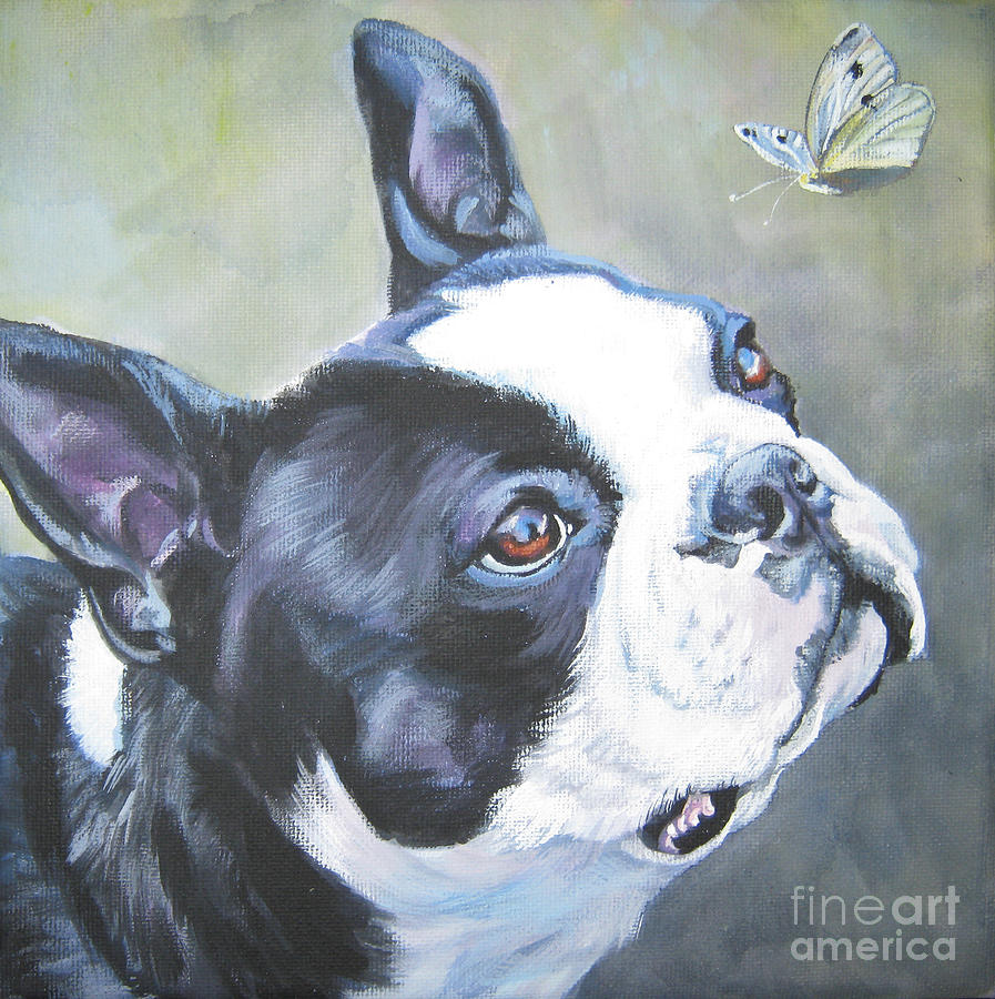 boston Terrier butterfly Painting