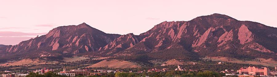 Boulder Colorado Flatirons 1st Light Panorama Photograph