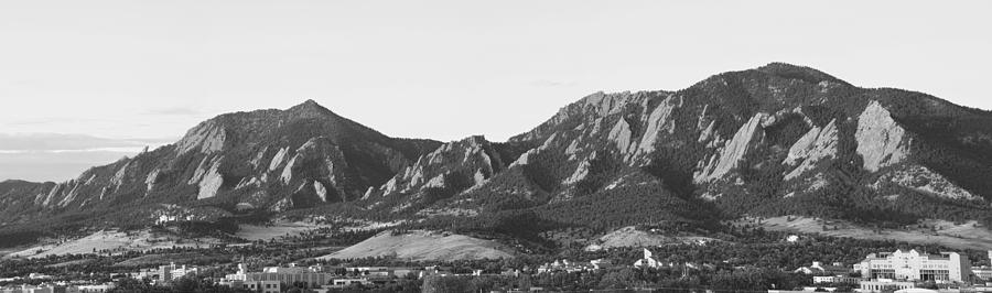 Boulder Colorado Flatirons And Cu Campus Panorama Bw Photograph