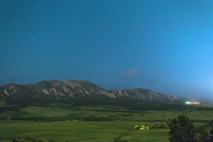 Boulder Colorado Foothills Cool Nighttime View Photograph