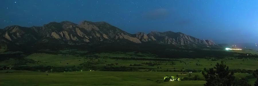 Boulder Colorado Foothills Nighttime Panorama Photograph