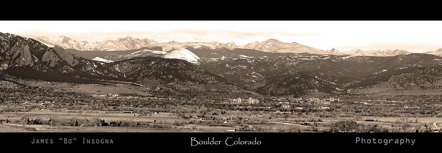 Boulder Colorado Sepia Panorama Poster Print Photograph