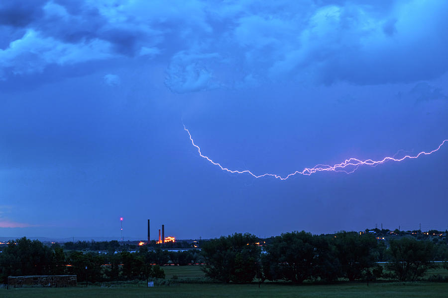 Boulder Valmont Power Plant Lightning Storming Photograph