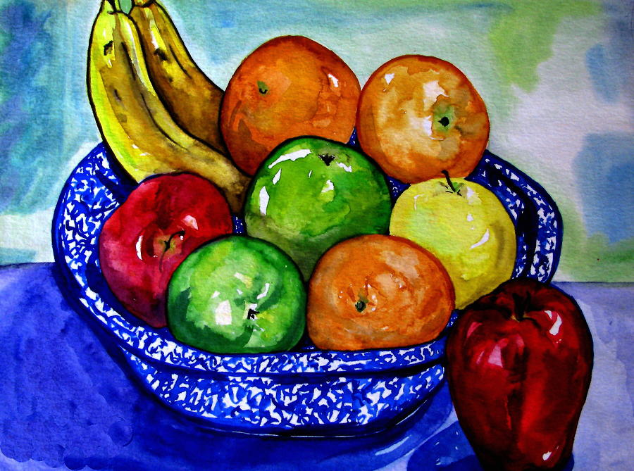 Watercolor Paintings Of Fruit Bowl Of Fruit Painting...