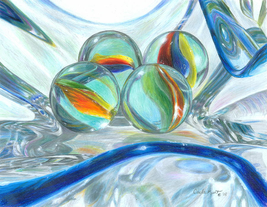 Colored Pencil Drawings Of Marbles : Bowl of marbles drawing by carla kurt