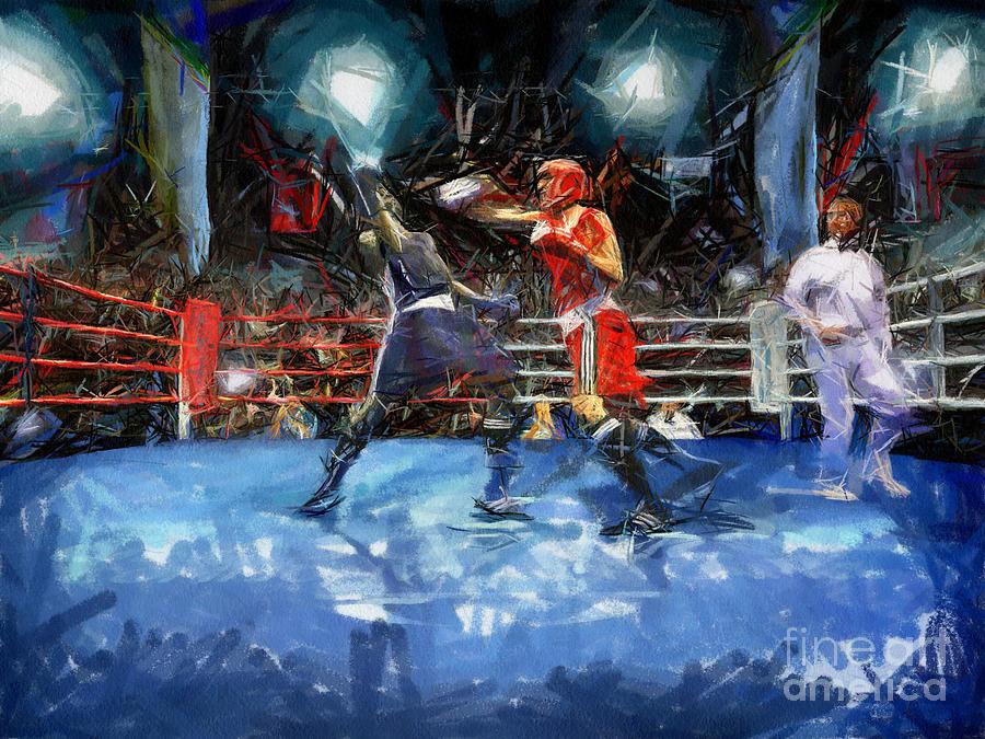 Boxing Painting - Boxing Night by Murphy Elliott