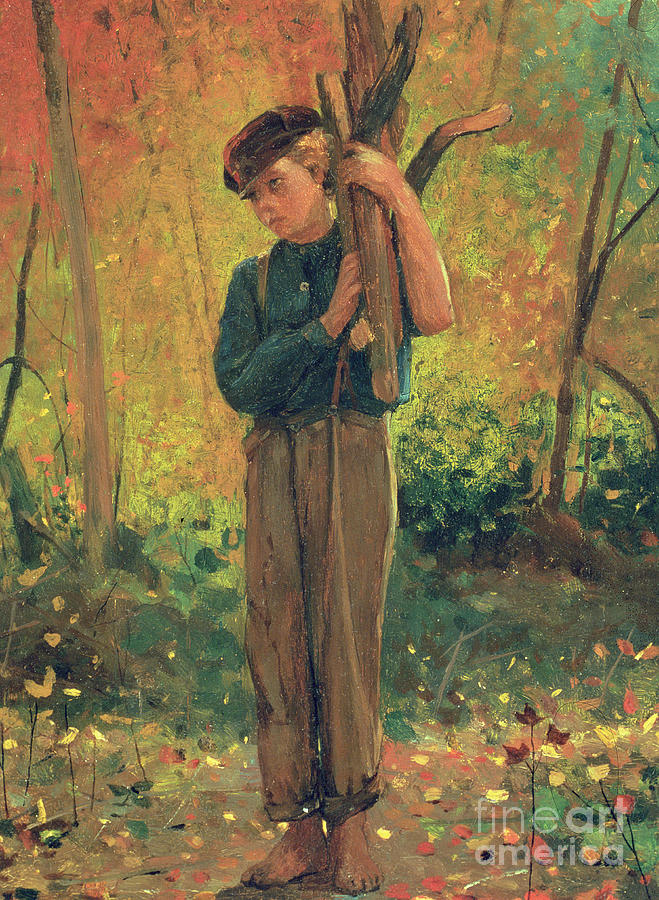 Boy Holding Logs Painting