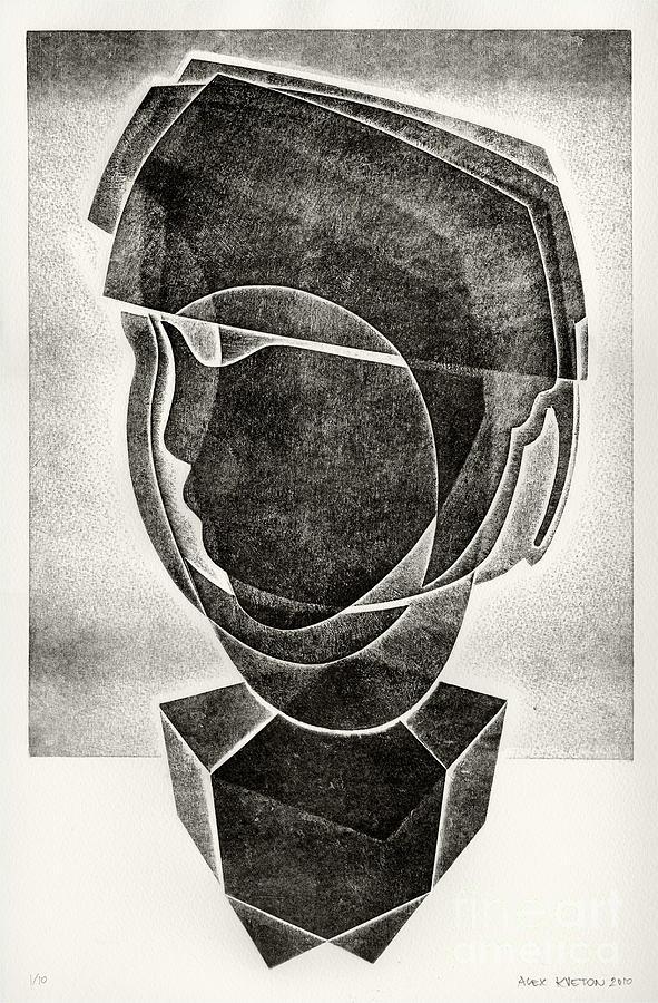 Hand-pulled Print Drawing - Boys Head by Alex Kveton